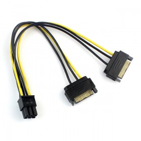 1x Dual 2 SATA 15 Pin Male M to PCI-e Express Card 6 Pin Female Graphics Video Card Power Cable 20cm