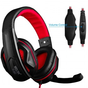 Gaming Headset,3.5mm Wired Bass Stereo Noise Isolation Gaming Headphones with Mic for Laptop Computer,Cellphone,PS4 and so on-Volume Control(Black and Red)