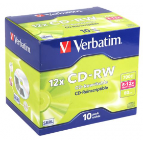VERBATIM CD-RW 8X12X 700MB JEWEL CASE