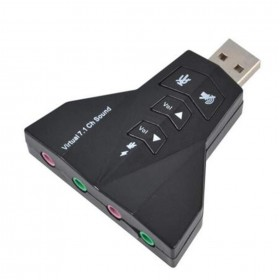 USB Sound Adapter Double USB Headset & Microphone 7.1